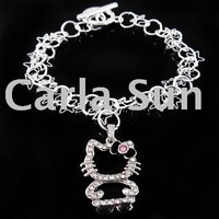 Hot item/Crystal Bracelet/hello kitty series/women's bracelet/10ps/lot KC174(high quality+Unique design+Crystal+free shipping