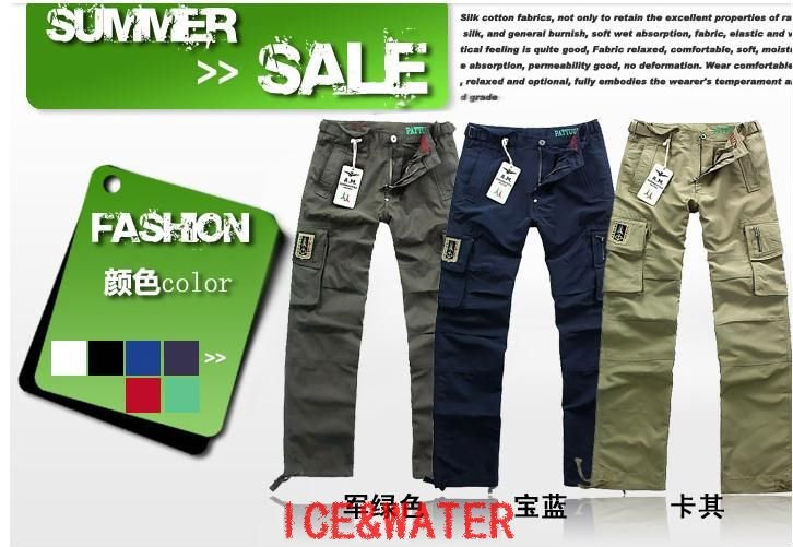 FREE SHIPPING!!! Wholesale Men's Four Seasons installed,Hot Sale Multi-pocket straight jeans linen(China (Mainland))