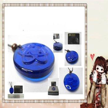 Ocean Blue glazed scalar quantum pendant/ free shipping/ lava energy pendant/ balance body ernegy