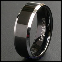 8MM TWO TONE BLACK SOLID TUNGSTEN CARBON WEDDING BANDS MENS RING Size 8-12