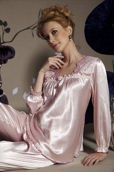 Freeshipping Fine Silk Long Sleeve Night Dress Wear Gown 2 pcs set ZFFH110407