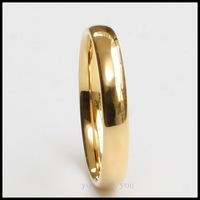 4MM WOMENS MENS SOLID TUNGSTEN CARBIDE 18K GOLD PL WEDDING BAND UNISEX RING HQ SIZE 8# 9# 10# 11# 12# FREE SHIPPING + GIFT BOX