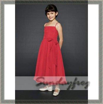 2011 Custom Made A-Line Flower Girl Dress Floor-length Chiffon Ruffle Sash Tie First Communion Dress Wedding Party Dress -FL16