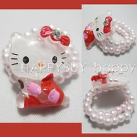 Free Shipping 50pcs Hello Kitty Cute Cartoon Girls Kids Children Rings Ring Gift Wholesale