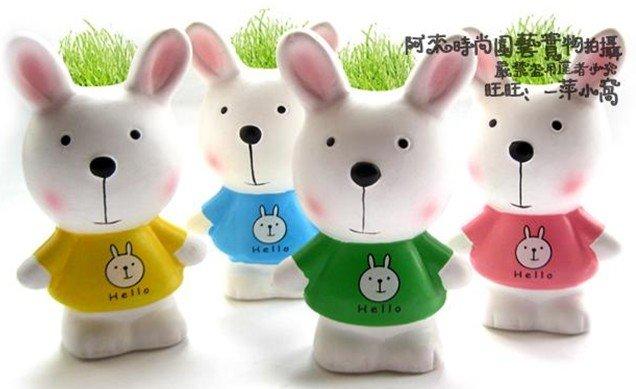 Creative Gift Plant METOO rabbit Plant Bonsai Grass Doll Office Mini Fantastic Home Decoration wholesale retail(China (Mainland))