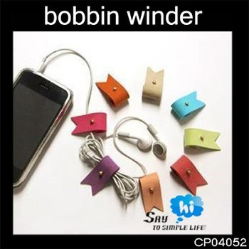 WHOLESALE bobbin winder earphone wire tidy roll up suede leather Pure color Antenna promotion gift 36PCS=18PACK say hi CP 04052