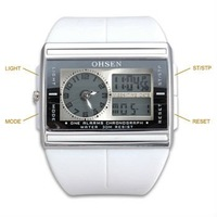 White Band Analog Digital Dual Time Alarm Day Date Men Sport Wrist Watch A026