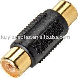 Free Shipping+Gold AV Coupler Female to Female AV Audio Video Coupler Adapter F/AV Cable Coupler(China (Mainland))