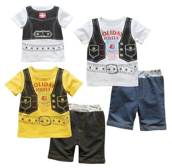 Boys' suits pants shorts t-shirts blouses T SHIRT Cotton kids suit pant outfits tees shirt jeans sets TZ584