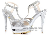 Free shipping-fashion crystal Sexy sandal,lady High heel sandal,lady wedding shoes,Sexy dress shoes,silver