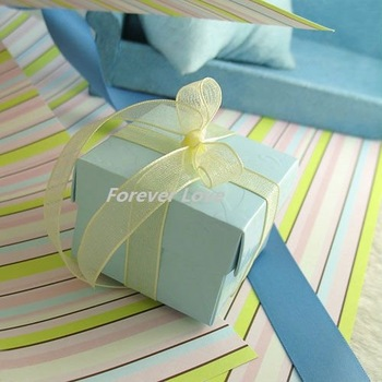 FREE SHIPPING+TRACKING No.--100 PCS (100 PCS=1 SET) BLUE 2-pcs NEW Favour Gift Box Wedding Party Supplies
