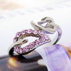 Rosa ajustável folha inlay cristal anel grátis frete(China (Mainland))