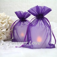 FREE SHIPPING+TRACKING No.--100PCS 10x15cm PURPLE Sheer Organza Wedding Favour Gift Bag