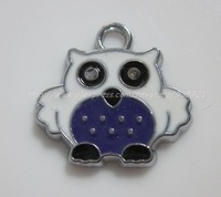 Free Shipping 100Pcs/Lots Zinc Alloy Metal  owl  Enamel ' HOLLO KITTY 'Charms Pendants