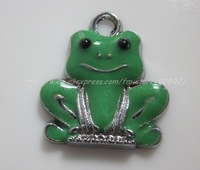 Free Shipping 100Pcs/Lots Zinc Alloy Metal  lovely frog  Enamel ' HOLLO KITTY 'Charms Pendants