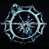 The spider belly button ring with lt.blue color JFB-7745