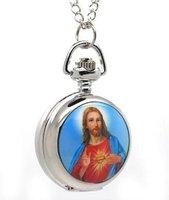 Free ship fee 25MM Jesus Christ Pocket Quartz clock Necklace Watch K250