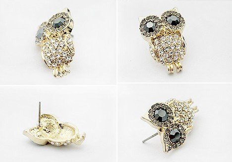 FREE SHIPPING Wholesale Cute Cheap Fashion Animal Owl Stud Earings Jewelry Earring Stylish Jewellry 6 PAIRS/LOT(China (Mainland))