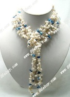 "Free shipping Wholesale retail genuine 46"" 7*12mm white baroque pearl ,5*8 crystal necklace"