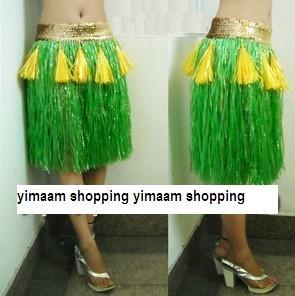 verde / Personalidade grama havaiano saia / L50CM * Lantejoula 7cm / Halloween festa a fantasia show de dança traje do partido saia de grama(China (Mainland))