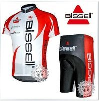 Free Shipping!! NEW 2010 Bissell CYCLING JERSEY+SHORTS white pick: S-XXXL