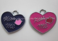 Free Shipping 100Pcs/Lots Zinc Alloy Metal  Enamel ' heart 'Charms Pendants