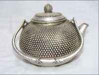 Rare old Ancient Chinese tibet silver sculpture brass teapot pot 100% free shipping