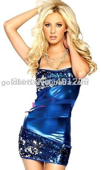2011 Nova desgin lingerie popular, sexy, desgaste de couro , vestido de couro bule, moda vestido sexy , vestido de festa bule, traje sexy hot(China (Mainland))