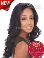 """2014 African American Celebrity Hairstyle 18"""" Body Wave #1B Lace Front Human Hair Wigs SHR082"""
