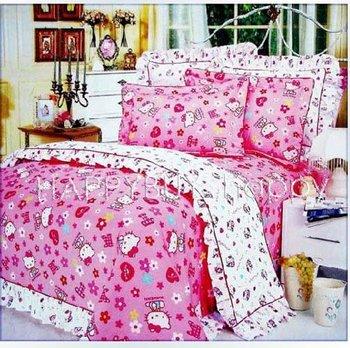 "Han Edition Girls Boys Three-pieces Hello Kitty  Kids Printing 59""x78"" Printing Single Bedding Set Gift Wholesale Free Shipping"