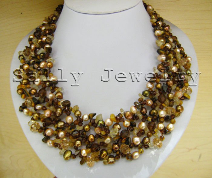 New Design Natural Pink Brown Pearl&Citrine&Tiger Eye&Crystal Necklace Free Shipping(China (Mainland))