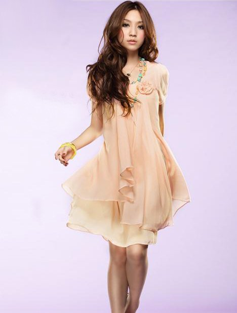 2011 newst elegance girl's skirt fashionable Short sleeves chiffon dress free shipping(China (Mainland))