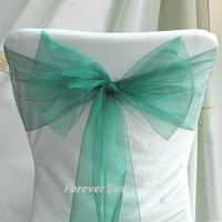 Free shipping--TEAL BLUE NEW Wedding Party Banquet Chair Organza Sash