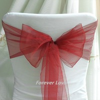 Free shipping--FCrimson Red NEW Wedding Party Banquet Chair Organza Sash
