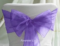 Free shipping--PURPLE NEW Wedding Party Banquet Chair Organza Sash
