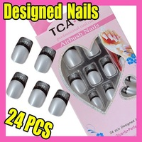 $10 off per $100 order Fast & Free Shipping Fashion 24 New Instant Pre-Design French Nail Tip Nail Art F322