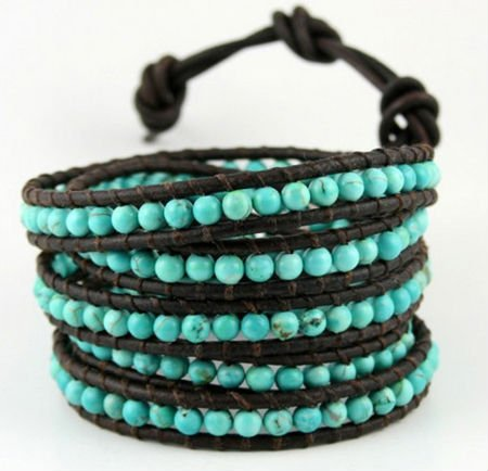 "Pure handmade leather strand Wrap Bracelets 32"" Turquoise Bead bracelets Unisex Fashion Jewerly(China (Mainland))"