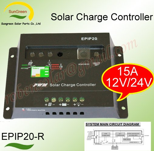 Free sample,solar charge controllers,15A,12V/24V, with a microcontroller for automatic lightin ...