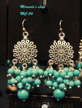 Gorgeous natural coral Freeshipping wholesale Tibet vintage dangle earring 12 pcs