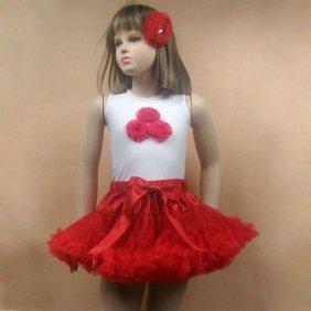 Wholesale summer little girls tutu Pettiskirts dresses,red skirts 3 rosette tops with jewel head flower for girl PST-ST0040