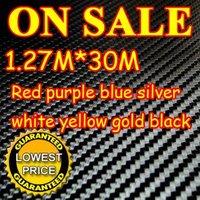 30M/LOT New 1.27X30M 3D Carbon Fiber Vinyl Car Sticker Guaranteed 100% PVC fiber car stickers 8 Colors Free EMS Shipping
