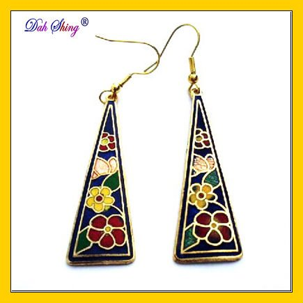 Fashion cloisonne Gold plated copper alloy earrings + Freeshipping(China (Mainland))