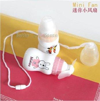 Wholesale 3FX003 small fan bottle bottle hand-held fan mini fan (multi-pattern) Free Shipping