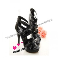 Hot sale! 35-39sizes,Sexy snakeskin pattern combined solid cross zipper-heeled sandals,two colors,fashion shoes