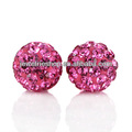 Free Shipping! 925 Sterling Silver Fashion Rose Round Crystal Stud Pave Bead 6mm Shamballa Earring