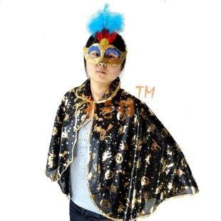 Halloween masquerade cloth gold pumpkin short cloak +goose feather gold dust mask