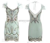 Short Sleeve Dress Heavy Beaded , Emerald Green 2014 New Fashion