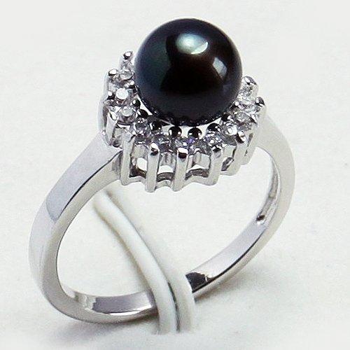 Anormal Black Pearl Inlay anel de cristal tamanho : 7-9(China (Mainland))
