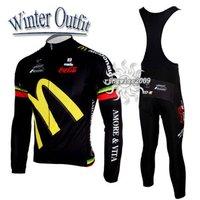 Free Shipping!! WINTER THERMAL CYCLING JERSEY+BIB PANTS BIKE SETS CLOTHES 2011 AMORE&VITA-BLACK-SIZE:S-4XL