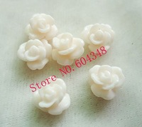 8MM Flower Shape Resin Beads, Fashion Resin Rose, Light Rose, No Hole Paste Flower Handmade Jewelry Accessories, 100PCS/LOT